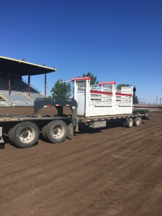 B/L hauling bucking chutes for the little britches rodeo in Dunmore.