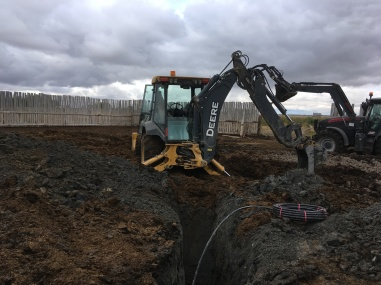 Digging water lines for stock waters
